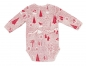 Preview: Langarm Babybody FOREST FUN mit All-Over Winterwald-Print in himbeerrot von nyani