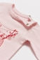 Mobile Preview: Langarm Babybody CERVI rosa mit Rehkitz-Print in himbeerrot