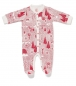 Preview: Baby Overall FOREST JUMP mit All-Over Winterwald-Print in himbeerrot