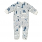 Preview: Baby Overall FOREST JUMP mit All-Over Winterwald-Print in himmelblau
