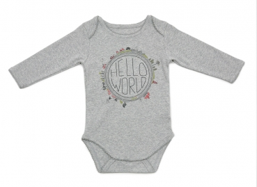 Langarm Babybody HELLO WORLD II GIRLS grau meliert mit Weltentdecker-Print