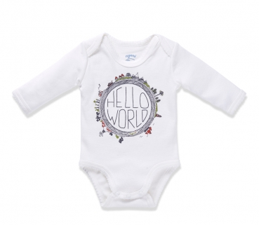 Langarm-Body HELLO WORLD II Girls offwhite