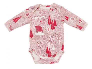 Langarm Babybody FOREST FUN mit All-Over Winterwald-Print in himbeerrot von nyani