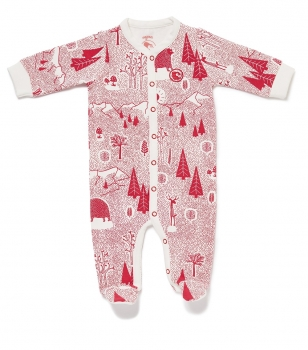 Baby Overall FOREST JUMP mit All-Over Winterwald-Print in himbeerrot