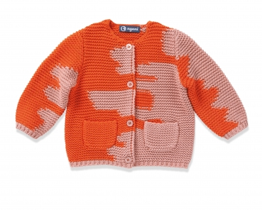 Kaschmir Strickjacke I AM A PAINTER orange-rosa von nyani