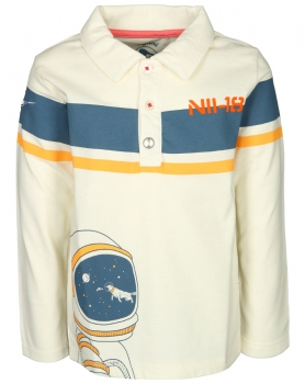 Langarm-Poloshirt ROCKETMAN! in off white