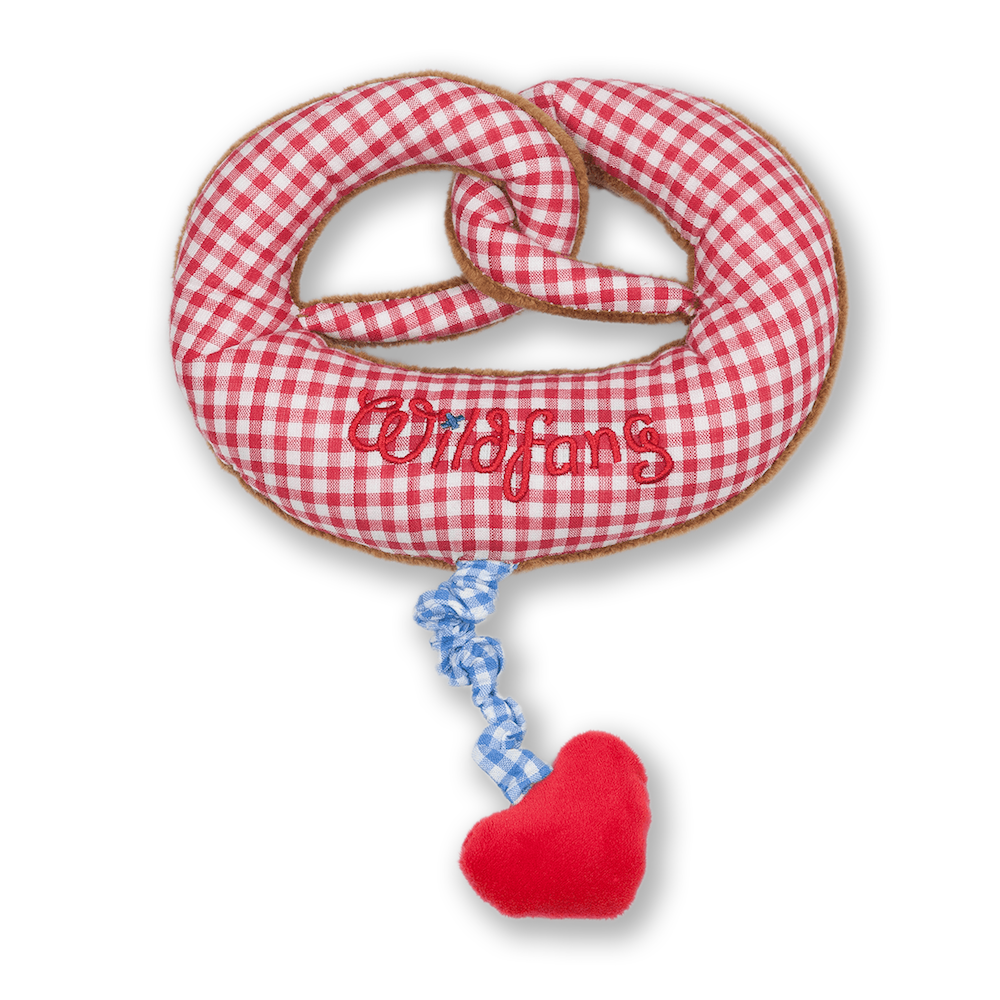 Plush pretzel with music box red check with heart - nyani | made