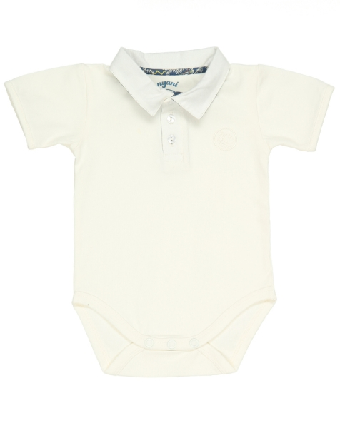 Kurzarm Babybody POLO ROCKETBOY in off white